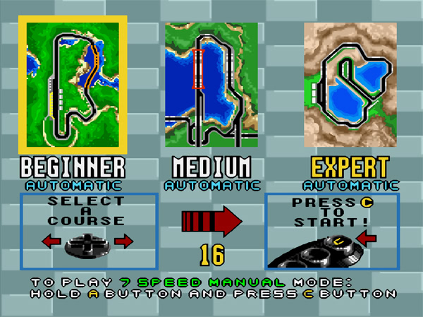 Virtua Racing sur Megadrive - Menu