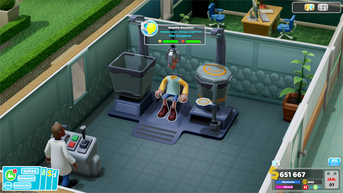 La clinique Super-Lux de Two Point Hospital pour soigner les têtes d'ampoule