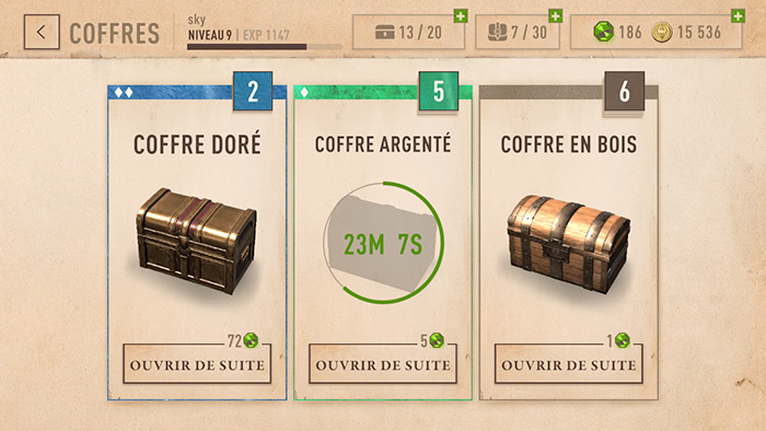 The Elder Scrolls: Blades - Coffres disponibles