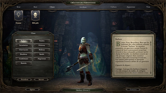 Pillars of Eternity : Choix des classes - Barbare